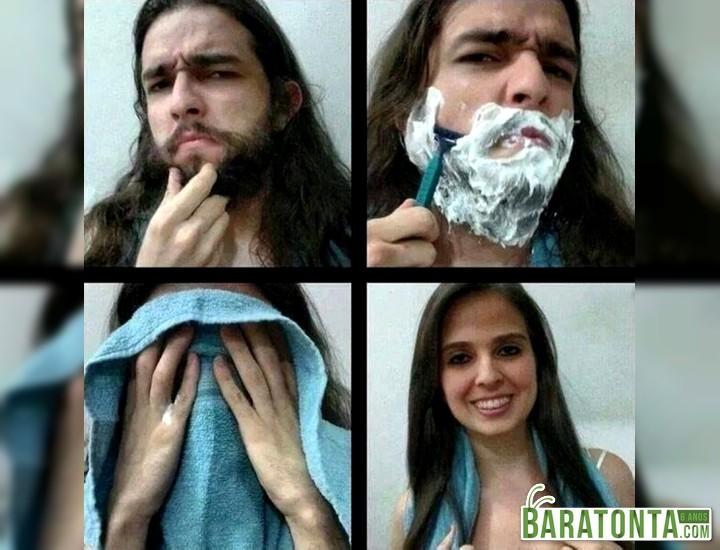 É só tirar a barba que...