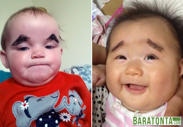 Crianças com sobrancelhas