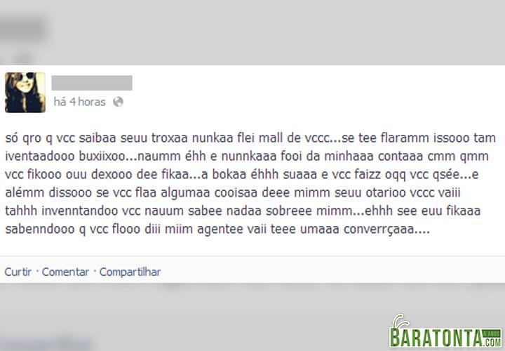 Recadinho no facebook